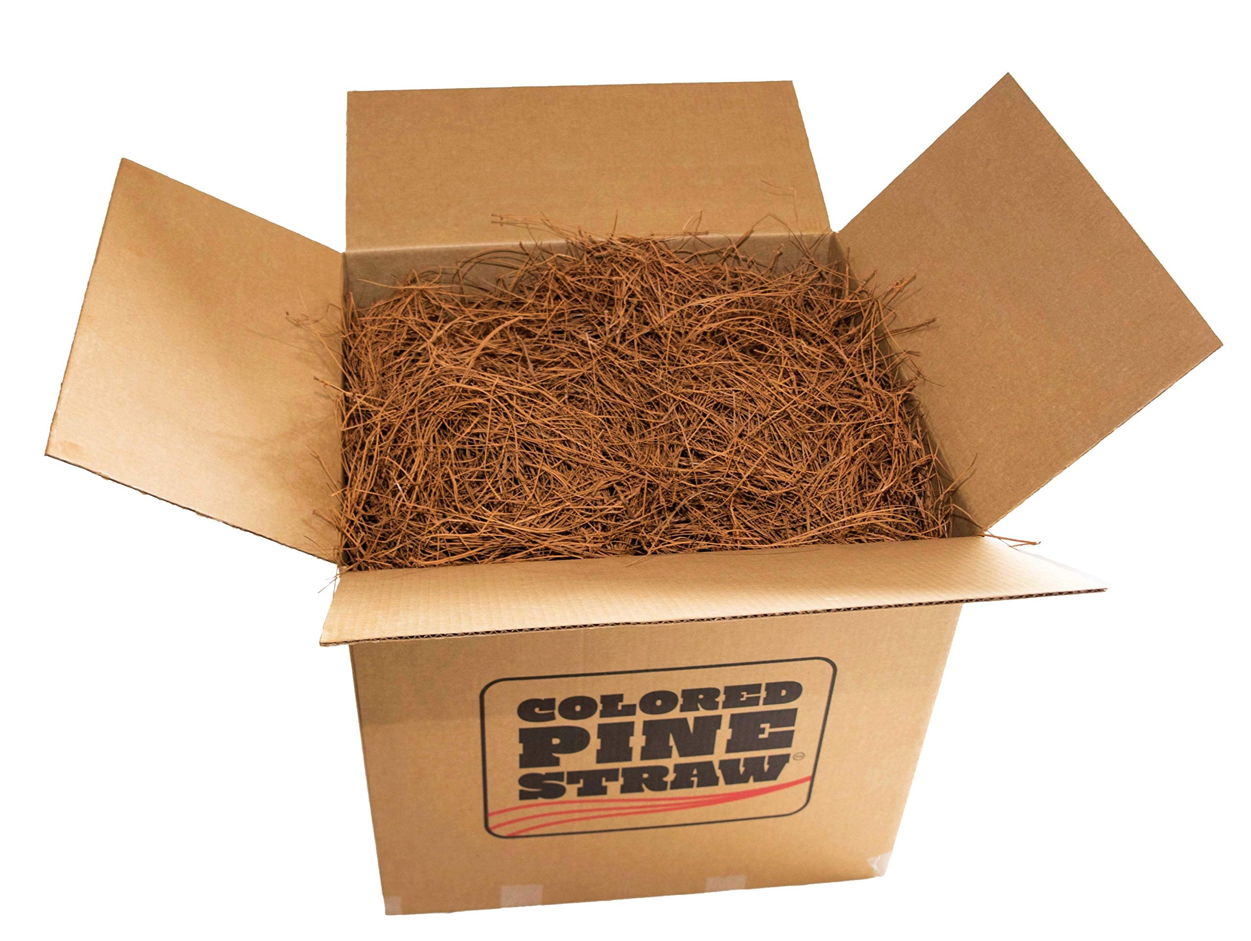Brown Colored Longleaf Pine Straw - Loose in Box - 90-100 Sq. Ft. - Premium Pine Needle Mulch by Colored Pine Straw