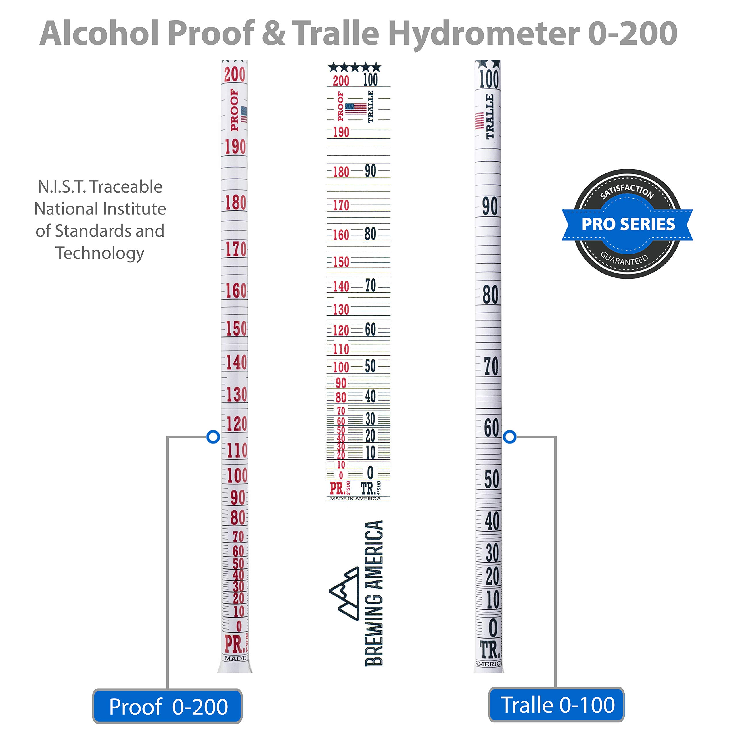 American-Made Alcohol Hydrometer Tester 0-200 Proof & Tralle Pro Series Traceable - Distilling Moonshine Alcoholmeter by Brewing America (Image #3)