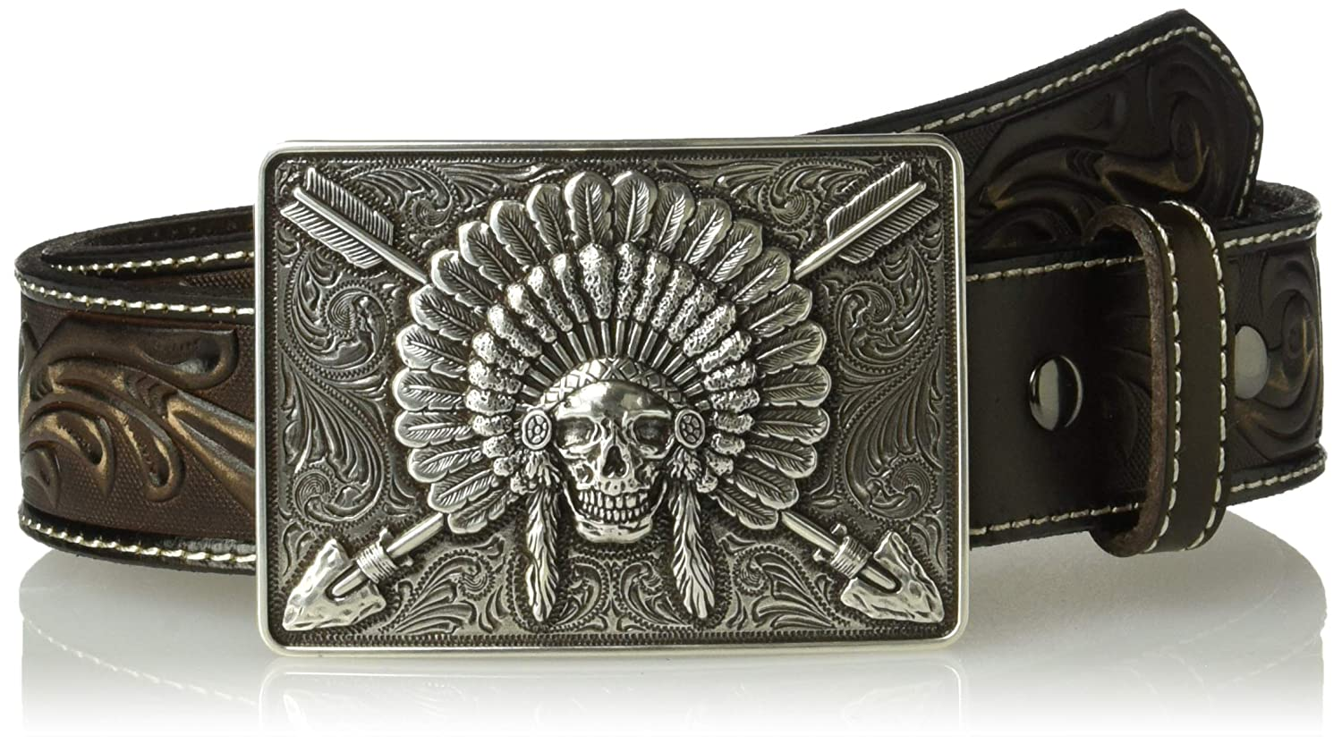 Ariat unisex-adult standard Ariat Scroll Embosed Head Dress Buckle Belt