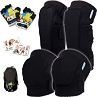 Innovative Soft Kids Knee and Elbow Pads with Bike Gloves - Toddler Protective Gear Set w/Mesh Bag& Sticker CSPC…