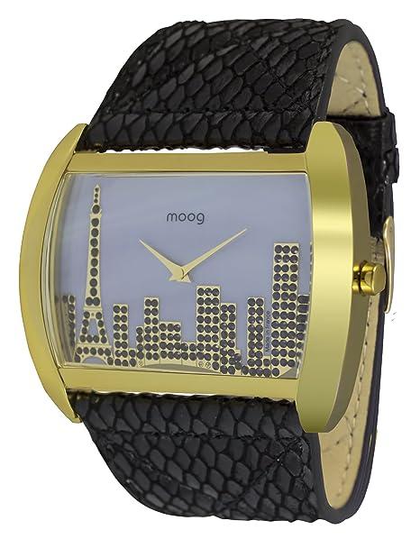 Moog Paris Skyline Reloj para Mujer con Esfera Nácar Gris, Correa Gris de Piel Genuina y Cristales Swarovski - M41882-003: Amazon.es: Relojes