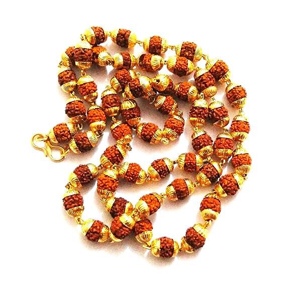 Ankita Gemstones 5 Face Rudraksha Mala With Golden Cap, 5 Mukhi Mala in Golden Cap Jaap Mala Puja Articles at amazon