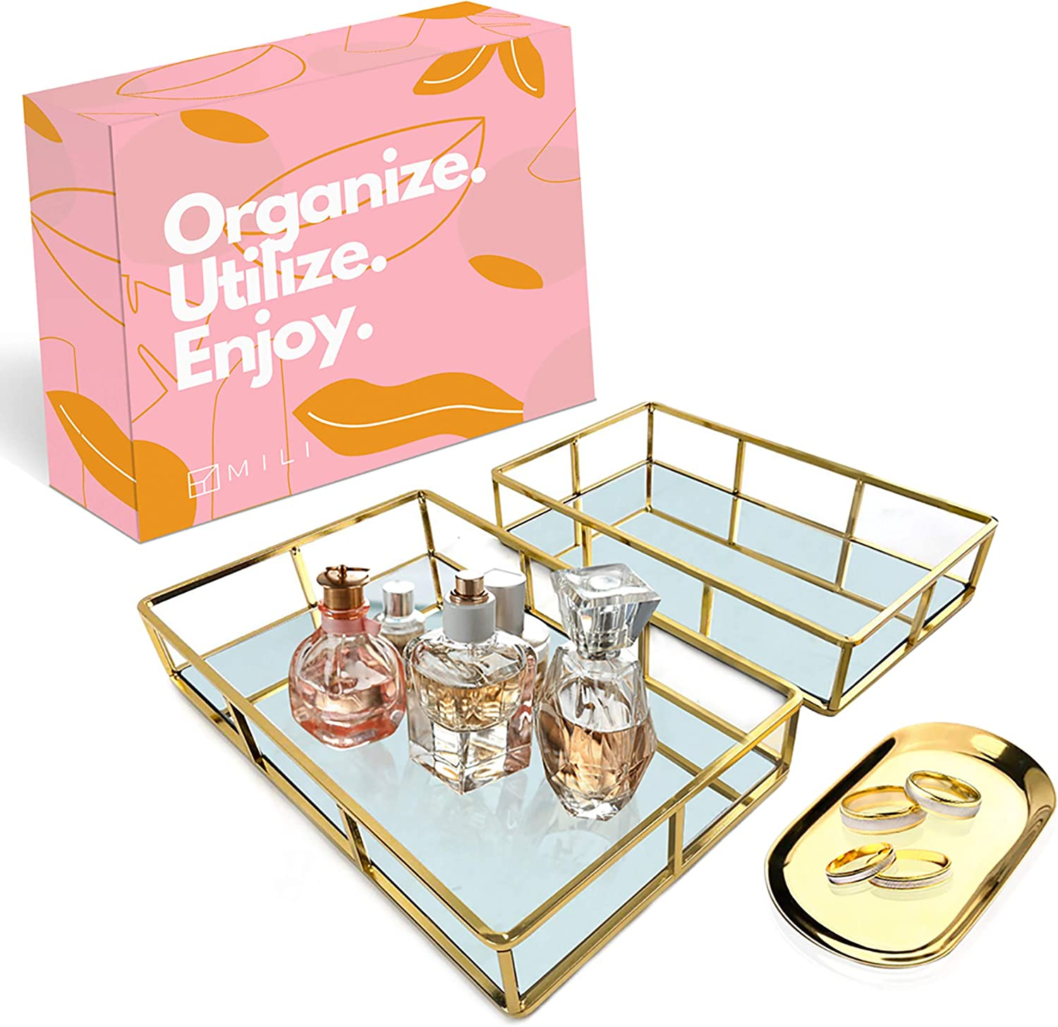 Mili Vanity Trays – Large & Small Mirror Tray, Perfume Organizer for Bedroom, Bathroom with Small Makeup Tray for Dresser – Gold Decorative Jewelry Tray – Gold Vanity Tray for Perfumes and Home Decor
