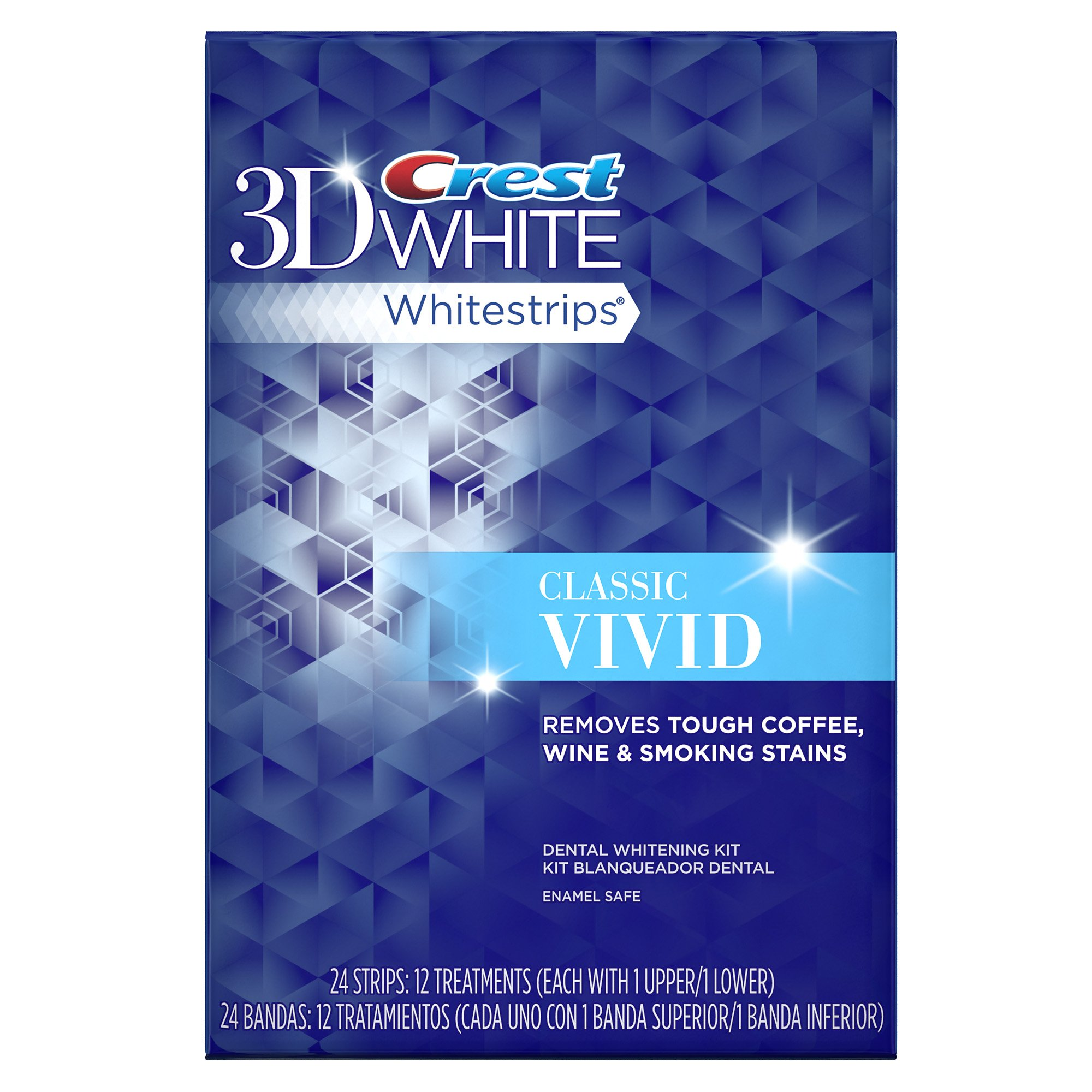 Crest 3D White Whitestrips Classic Vivid Teeth Whitening Kit, 12 Treatments - 24 Strips