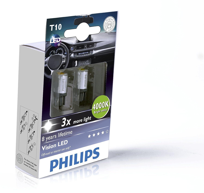 Philips 129334000KX2 Vision - Bombillas LED para habitáculo de coche (T10, 4000 K, 12 V, 2 unidades): Amazon.es: Coche y moto