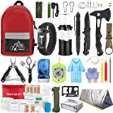 Emergency Survival Kit, 151 Pcs Survival Gear First Aid Kit, Outdoor Trauma Bag with Tactical Flashlight Knife Pliers Pen Bla