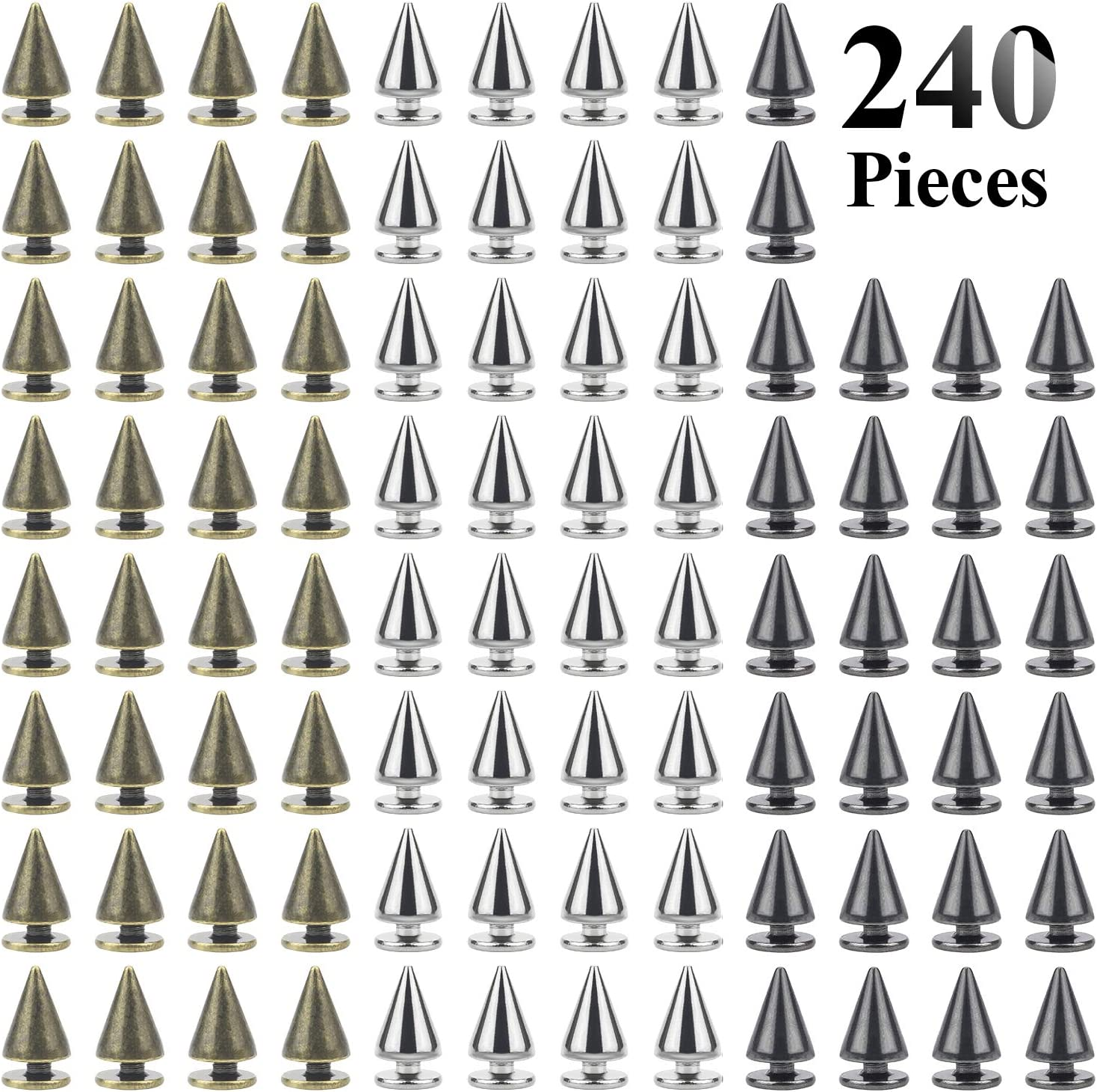 Swpeet 110 Pairs Gold 7mm x 9.5mm Bullet Cone Spike and Stud Metal Screw Back for DIY Leather Craft Cool Rivets Punk Stud Coincal Layer