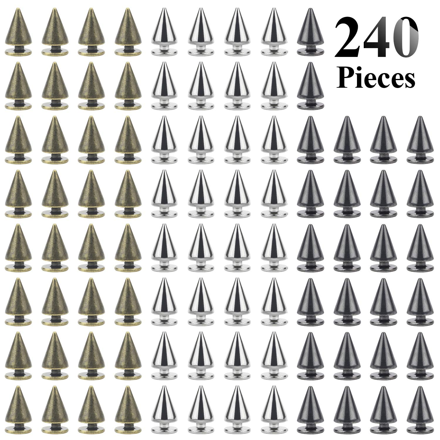 Favordrory 7mmx10mm Bullet Cone Spike and Stud Metal Screw Back for DIY Leather Crafts, 240 PCS (Silver, Black, Bronze)