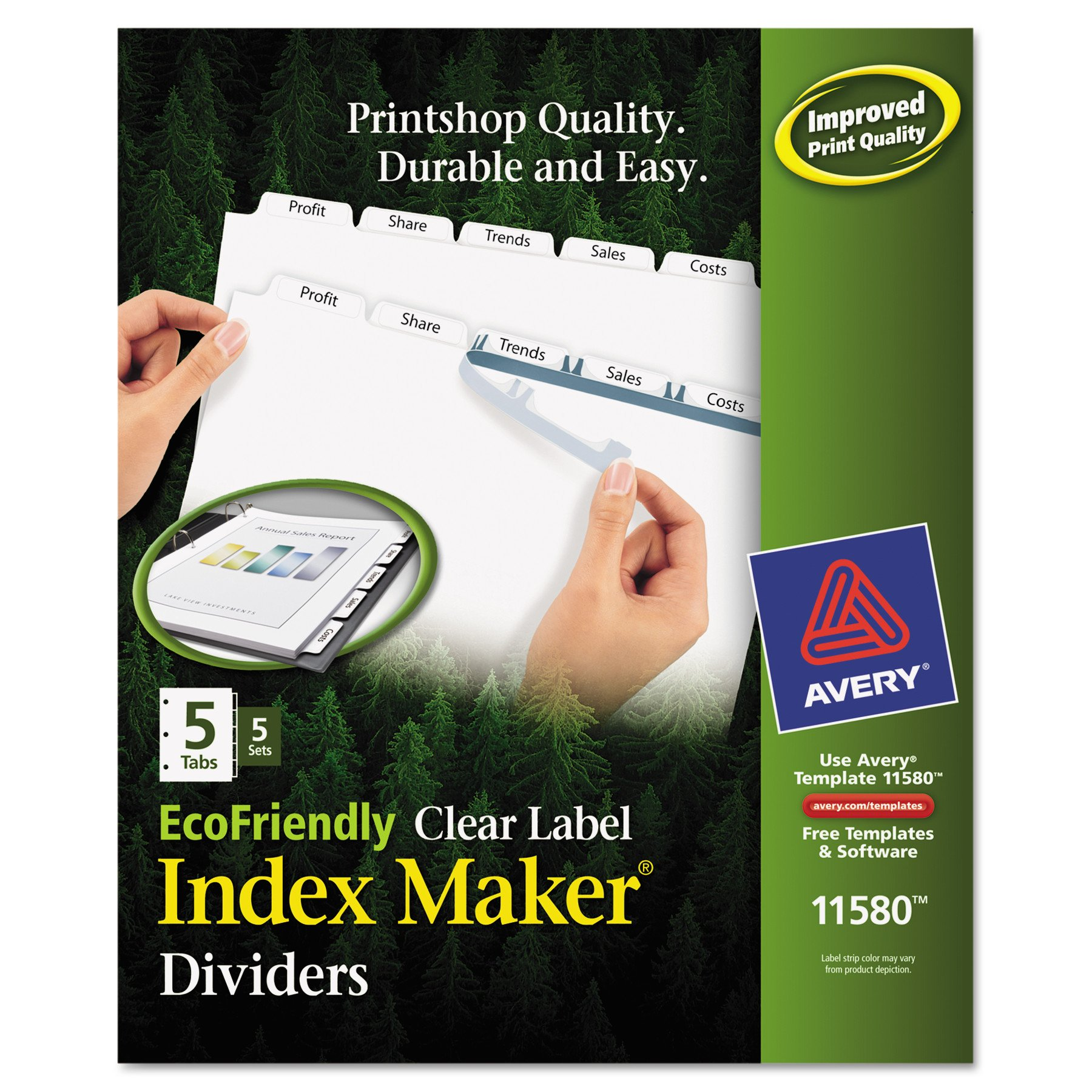 Avery Index Dividers, Print & Apply Clear Label, Index Maker Easy Apply Strip, 5 Printable Tabs, 5 Sets (11580)