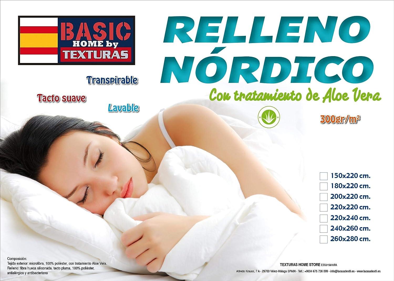 TEXTURAS HOME - Relleno Nórdico Fibra Hueca Tacto PLUMÓN 240x220 cms.: Amazon.es: Hogar