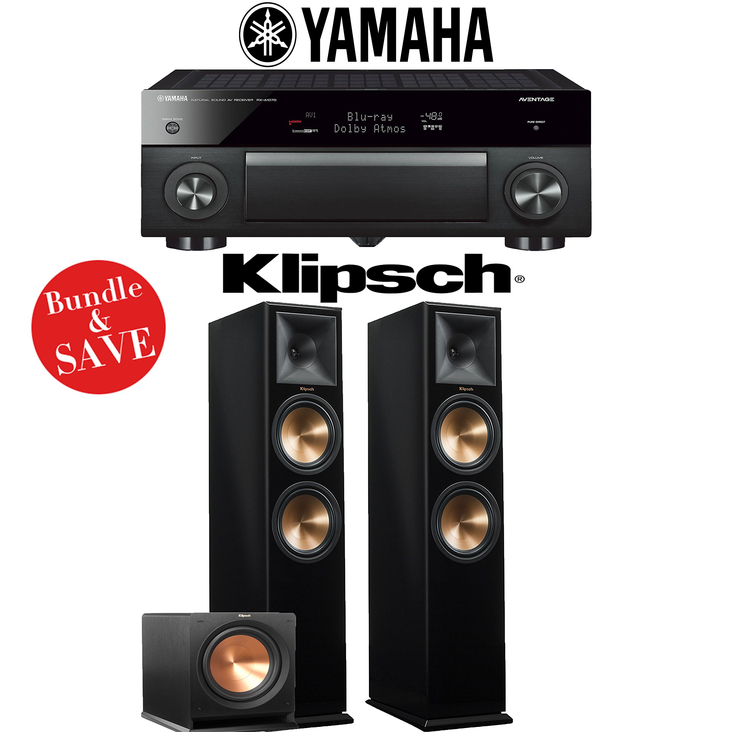 Yamaha AVENTAGE RX-A1070BL 7.2-Ch 4K Network AV Receiver + Klipsch RP-280F + Klipsch R-112SW - 2.1-Ch Home Theater Package (Piano Black) by Yamaha