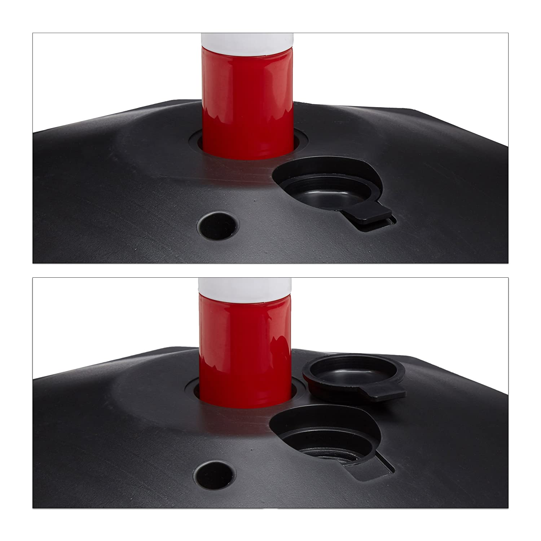 Relaxdays Hecho de pl/ástico Las Bases se Puede Rellenar con Agua o Arena para m/ás Estabilidad 82 x 112 x 28 cm 3 Cadenas Color Rojo y Blanco 4 Barreras//Postes de Aparcamiento