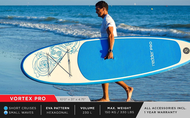 Mochila de Viaje Kit con Bravo SUP3 Inflador Aluminio Pala Ajustable 3 Piezas redder Tablas Paddle Surf Hinchables Vortex 10 All Round Tabla Stand Up Paddle Kit de Reparaci/ón