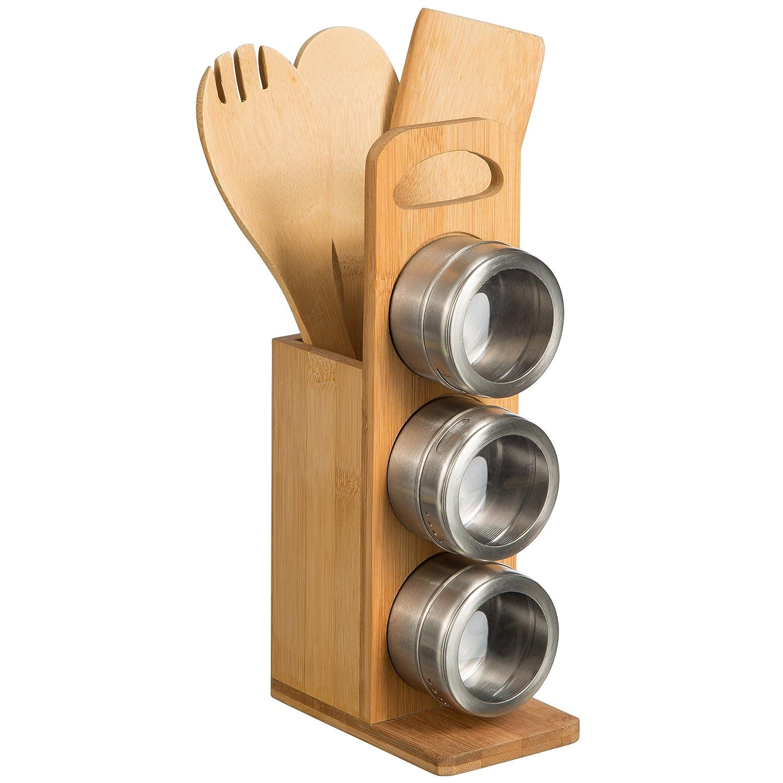 Levivo Portautensili in Legno di bambù, con 3 Vasetti per Spezie e 3 Utensili da Cucina SET111530