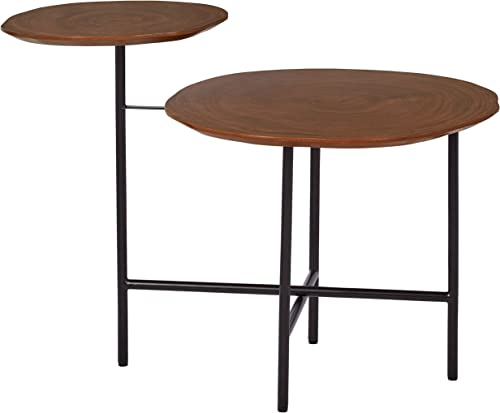 Amazon Brand Rivet Mid-Century Modern Wood and Metal 2-Tiered Side End Accent Table, 20 W, Walnut