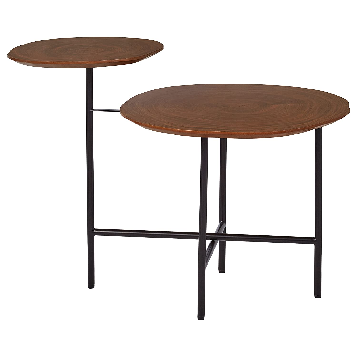 "Rivet Mid-Century Modern Wood and Metal 2-Tiered Side End Accent Table, 20""W, Walnut"