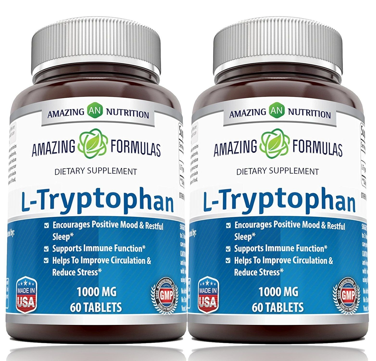 Amazing Formulas L-Tryptophan Dietary Supplement - Natural Sleep Aid Supplements with 1000 mg of Free Form L Tryptophan - For Stress Relief, Circulation & Immune Support - (2 Pack)