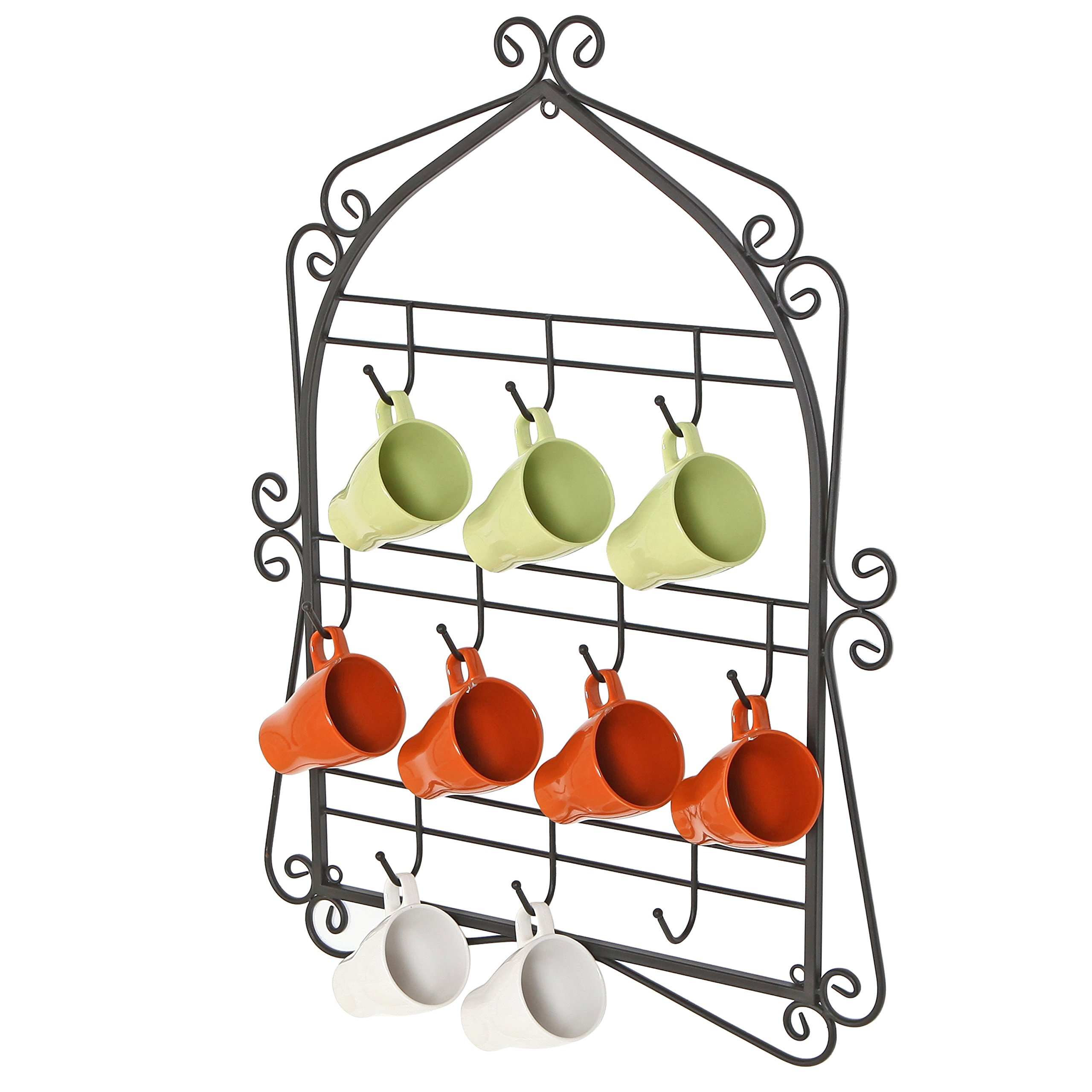 MyGift Wall Mounted 10 Hooks Mug Display Rack with Decorative Metal Scrollwork Design, Black by MyGift