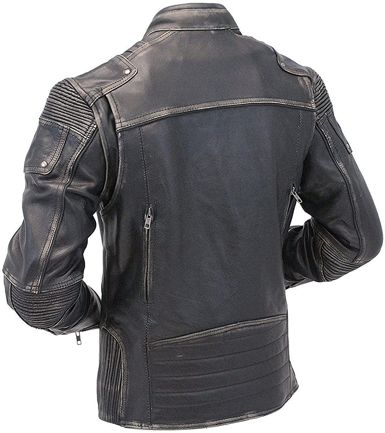Mens Leather Jacket Mens Union Jack Leather Jacket Cafe Racer Black Distressed Leather Jacket