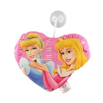 Princesas Disney - Cojín Peluche Corazón Rosa Aurora y Cenicienta