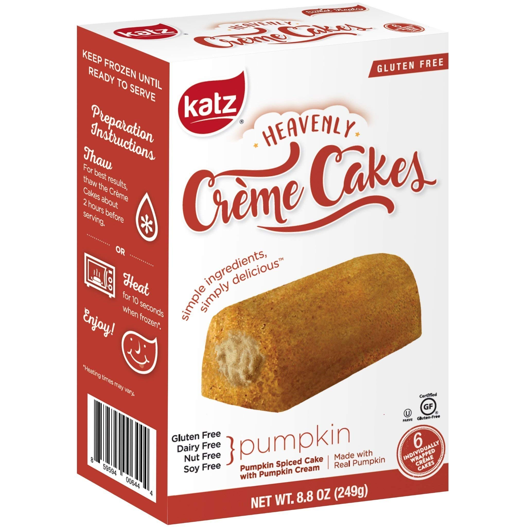 Katz Gluten Free Pumpkin Spice Crème Cakes | Dairy, Nut, Soy and Gluten Free | Kosher (6 Packs of 6 Crème Cakes, 8.8 Ounce Each) by Katz Gluten Free