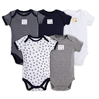 Burt's Bees Unisex Baby Organic Set of 5 Short Sleeve Bodysuits Boys' T-Shirts at amazon