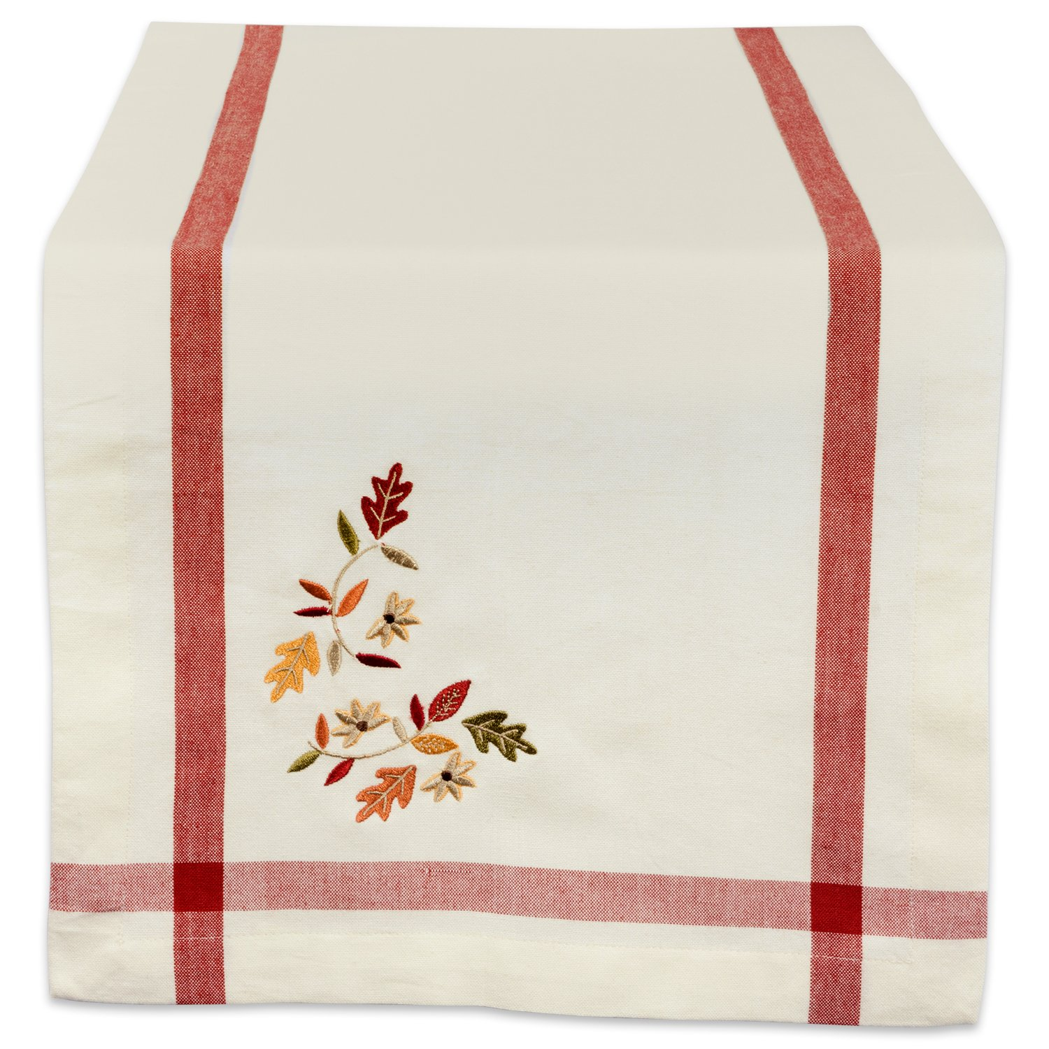 DII 14x108'' Cotton Table Runner, Cream with Embroidered Fall Leaves - Perfect for Fall, Thanksgiving, Special Occasions or Everyday Use
