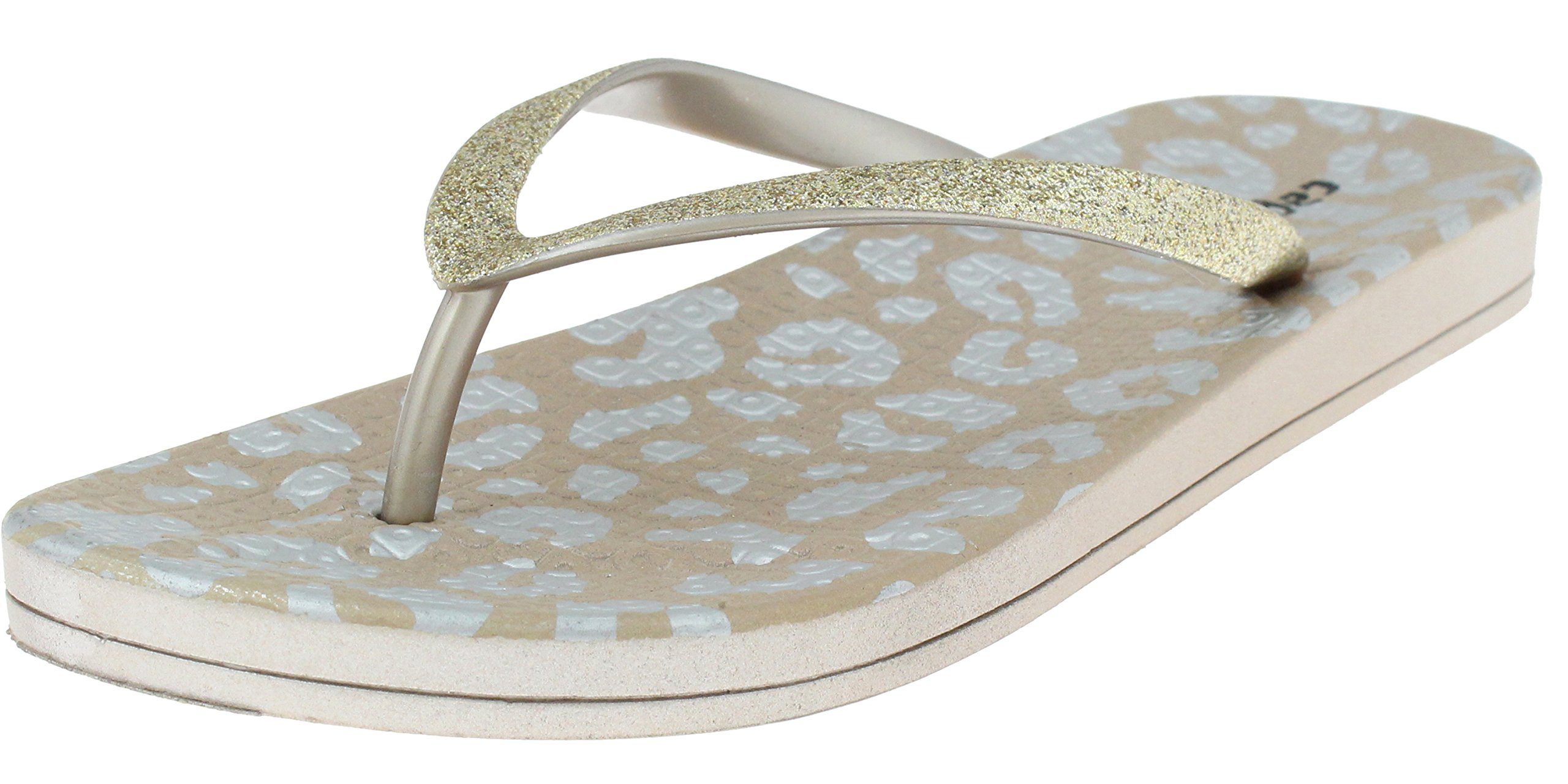 Capelli New York Ladies Fashion Flip Flops Fine Glitter Trim Rose Gold 9