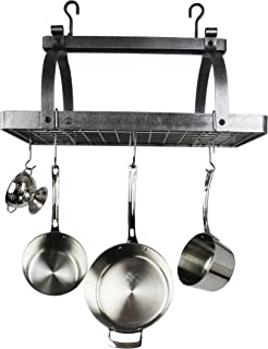 product image for Handcrafted Rectangle Hanging Pot Rack w 18 Hoooks Hammered Steel