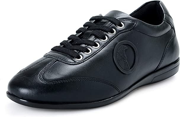 Black Leather Fashion Sneakers Shoes