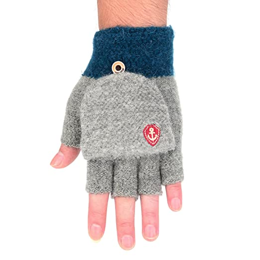Flammi Mens Winter Knit Fingerless Gloves With Mitten Cover Grey