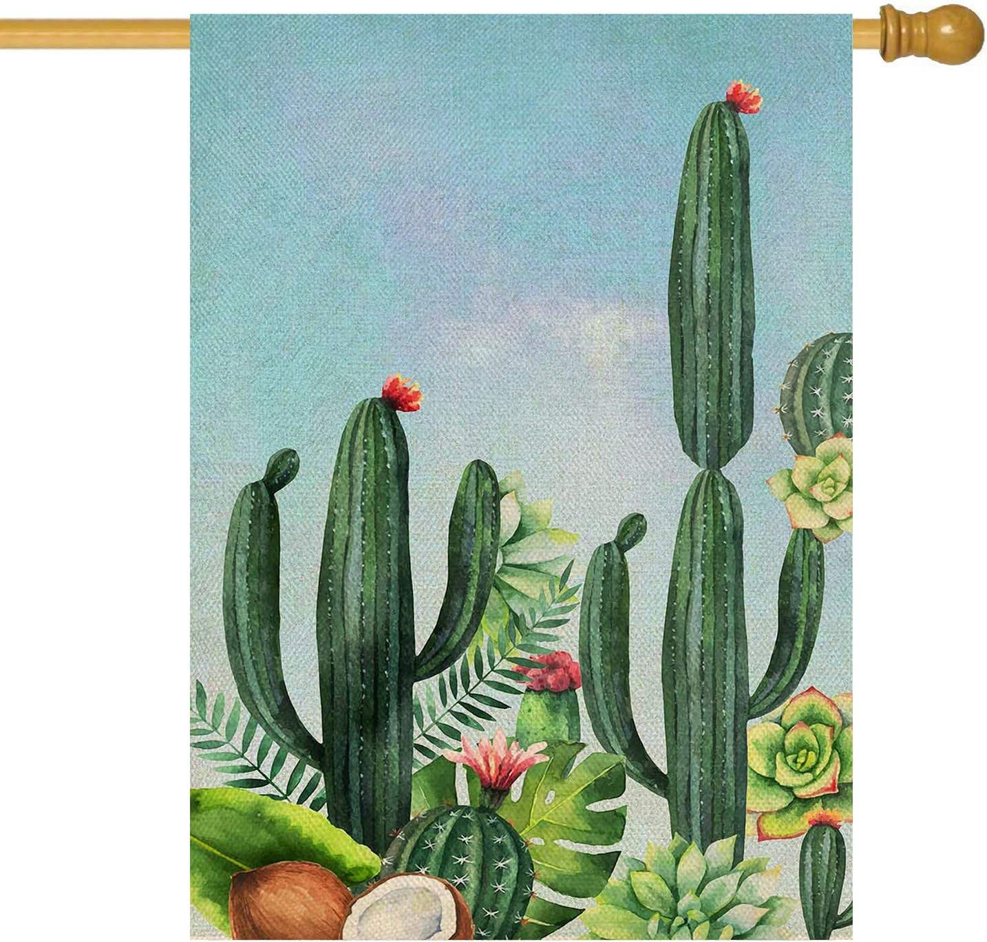 ORTIGIA Welcome Cactus Garden House Flag Double Sided Home Decorative,Succulent Yard Decoration Seasonal Outdoor Flag 28 x 40inch for Spring Summer