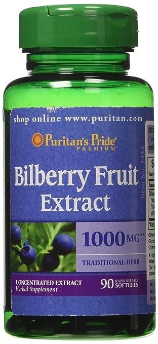 amazon com puritan s pride bilberry 4 1 extract 1000 mg 90 softgels