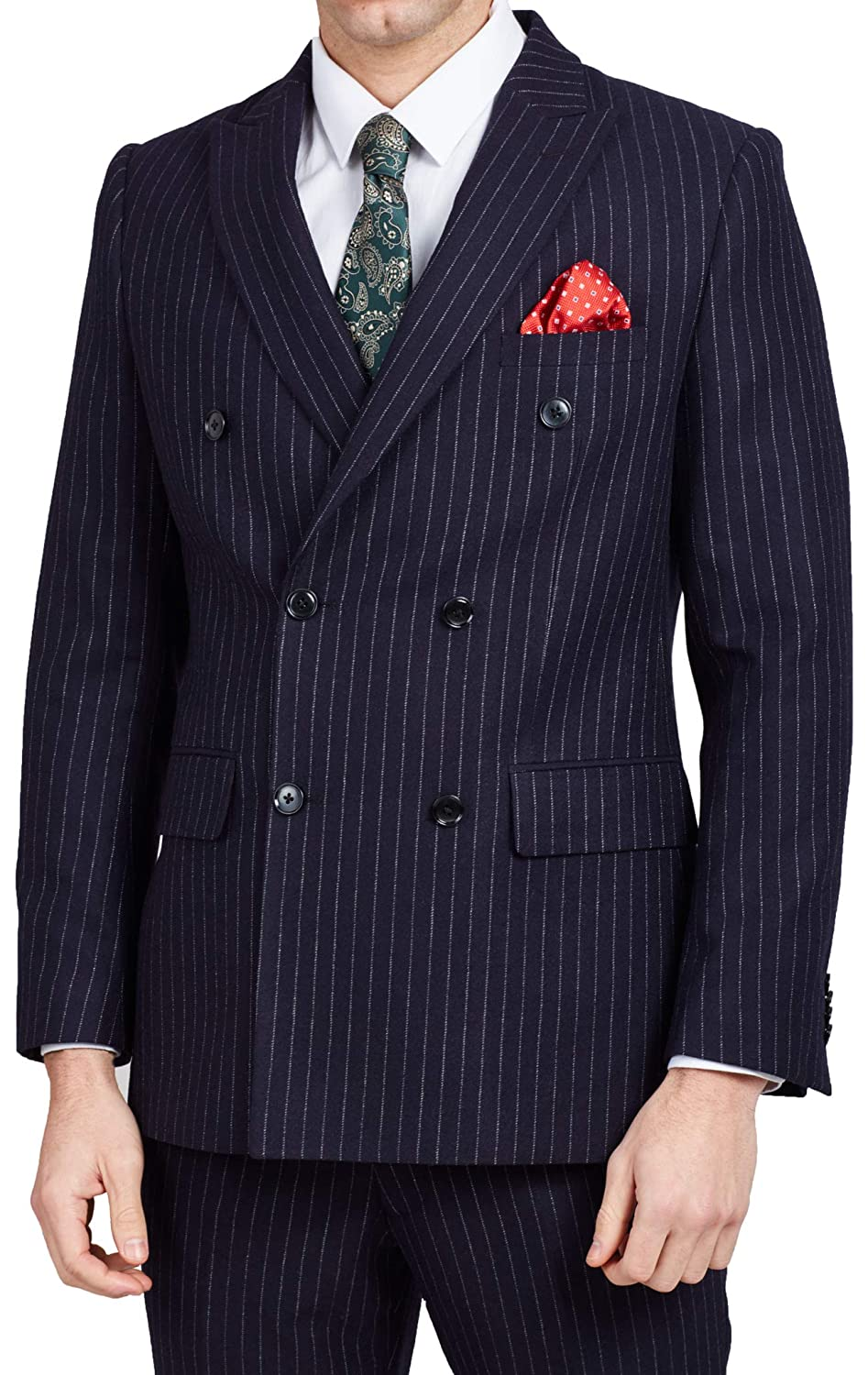 1940s Zoot Suit History & Buy Modern Zoot Suits Dobell Mens Navy Suit Jacket Tailored Fit Notch Lapel Double Breasted Chalk Stripe £99.99 AT vintagedancer.com