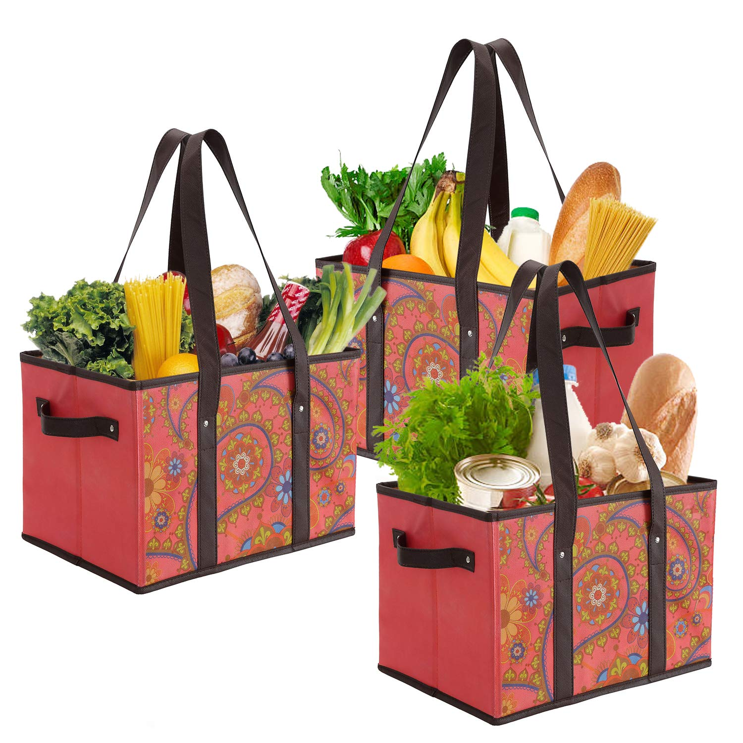 Foraineam Reusable Grocery Bags Durable Heavy Duty Grocery Totes Bag Collapsible Grocery Shopping Box Bags with Reinforced Bottom, Pack of 3 by Foraineam