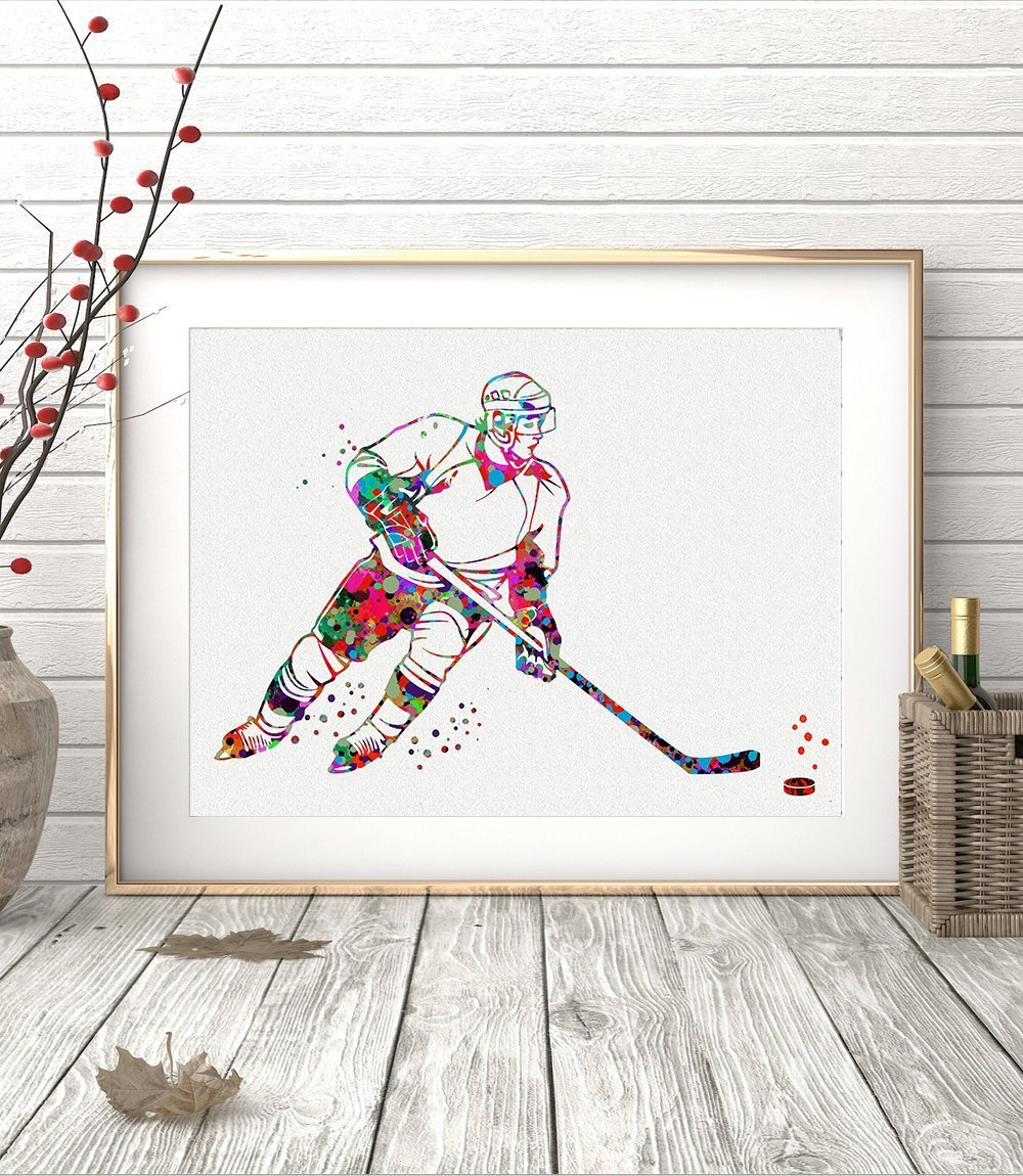 Ice Hockey Player Sports Watercolor Poster Art Prints Wall Decor Artworks Wall Art Home Decor Wall Hanging