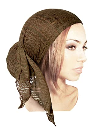 0668f916845210 Olive Green Headscarf Browns Boho Chic Pre-Tied Head-Cover Versatile Earth  Tones Lace