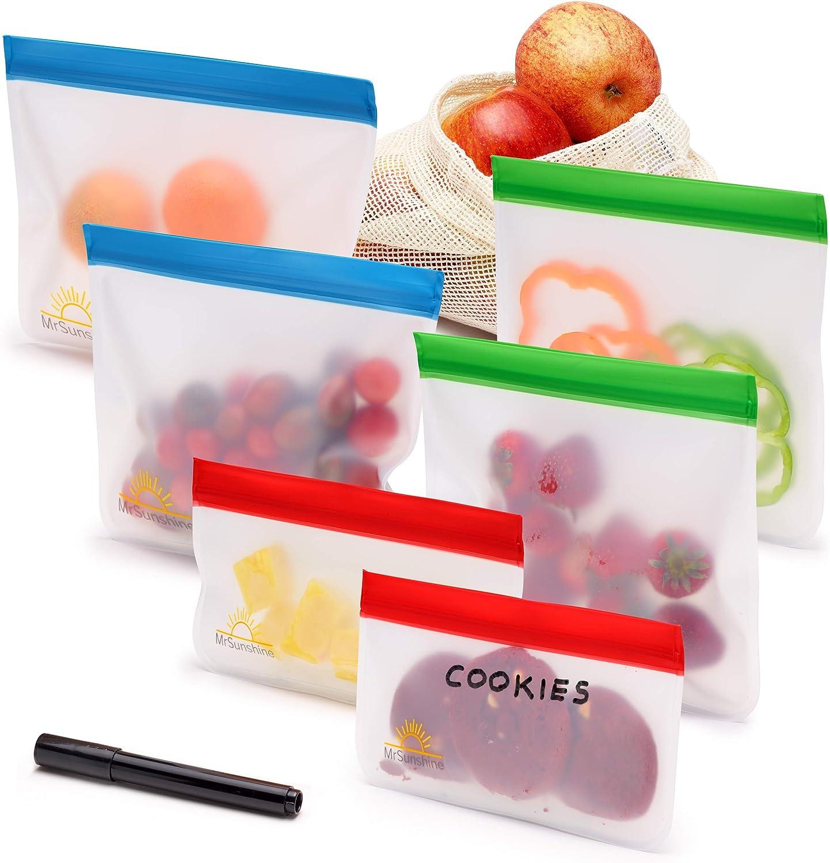 MrSunshine Reusable Snack Ziplock Bags, 6-Pack, 4 Sandwich Bags, 2 Snack Bags; Mesh Produce Bag; Dry Erasable Marker, Reusable Snack Bags for Kids, Ziploc Freezer Bags, Reusable Sandwich Bags for Kids