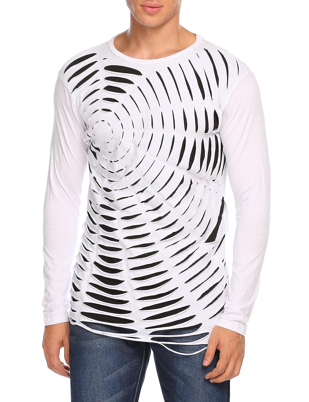 COOFANDY メンズ 半袖穴あきデザインファッションTシャツ ヒップスター ヒップホップ プレミアムセクシーTシャツ B075YF2MCQ M Type2(white) Type2(white) M