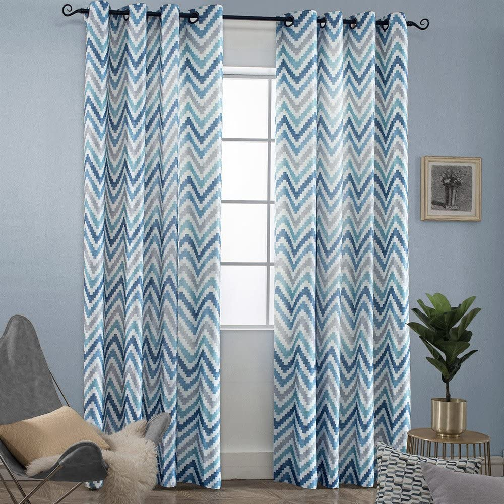 Melodieux Chevron Grommet Top Window Curtains for Living Room, 52 by 84 Inch, Blue (1 Panel)