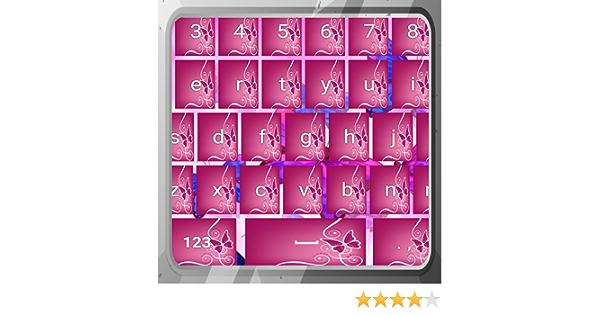 Teclados de mariposas rosadas