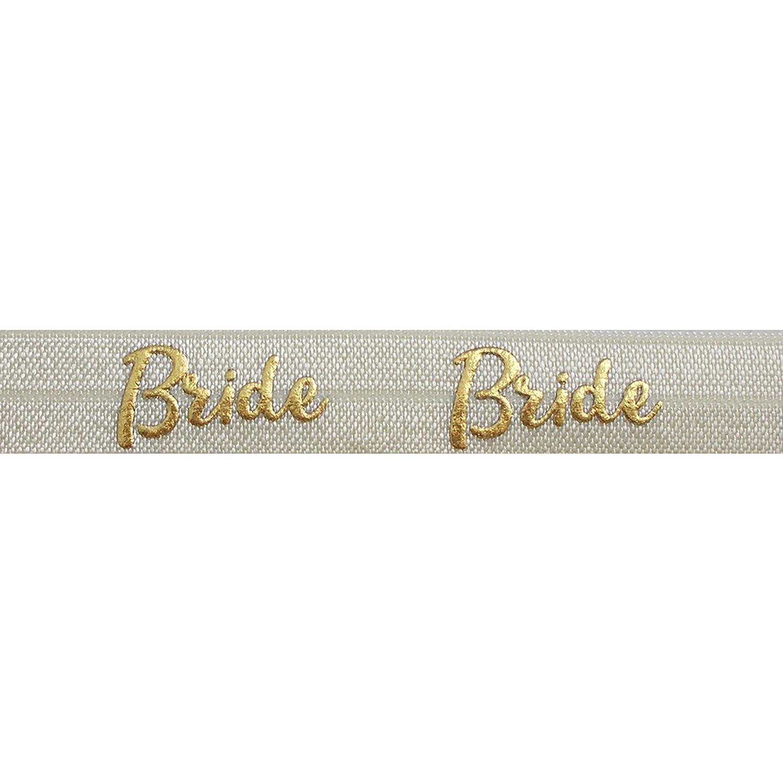 "3 yards white w// metallic gold bridesmaid print 5//8/"" fold over elastic FOE"
