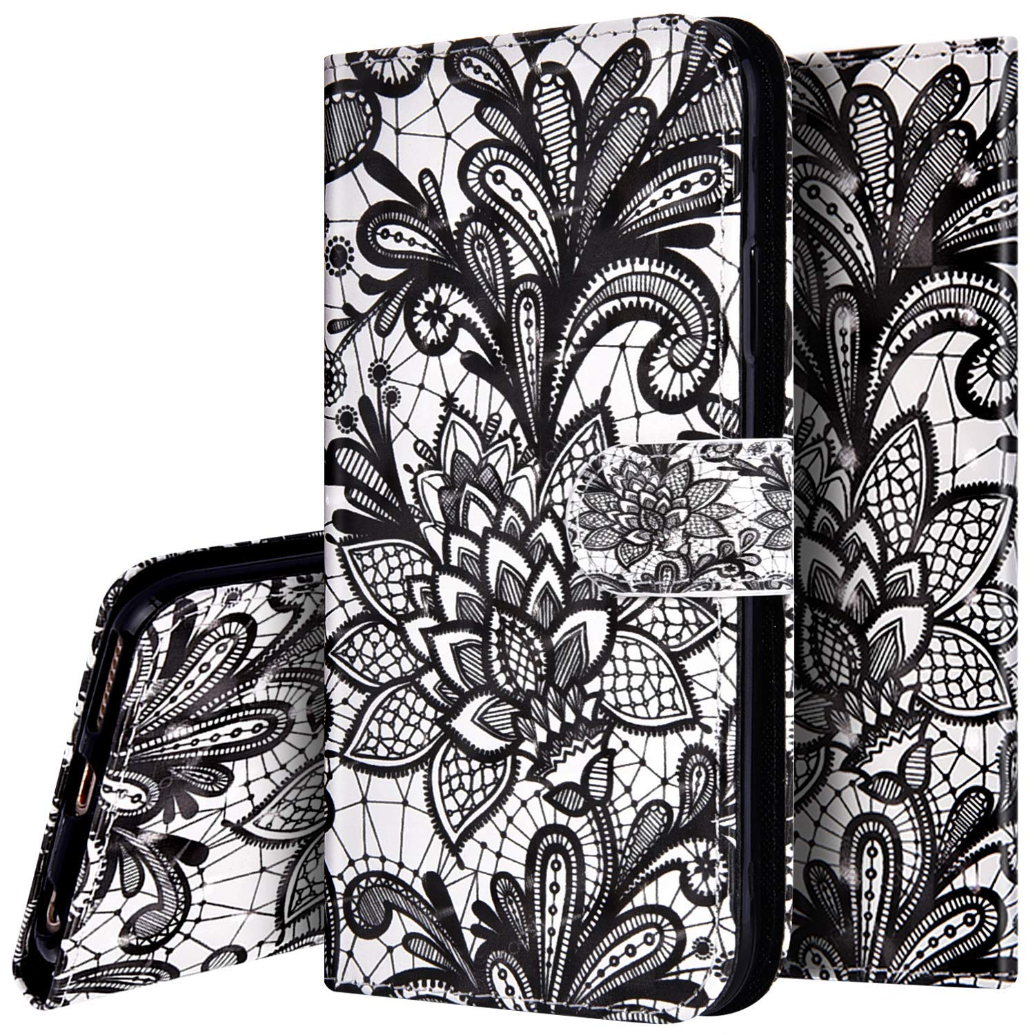 PHEZEN Case for Samsung Galaxy Note 9 Wallet Case,3D Bling PU Leather Folio Flip Case Full Body Protective Phone Case Cover with Kickstand Credit Card Wrist Strap for Galaxy Note 9 - Black Flower by PHEZEN