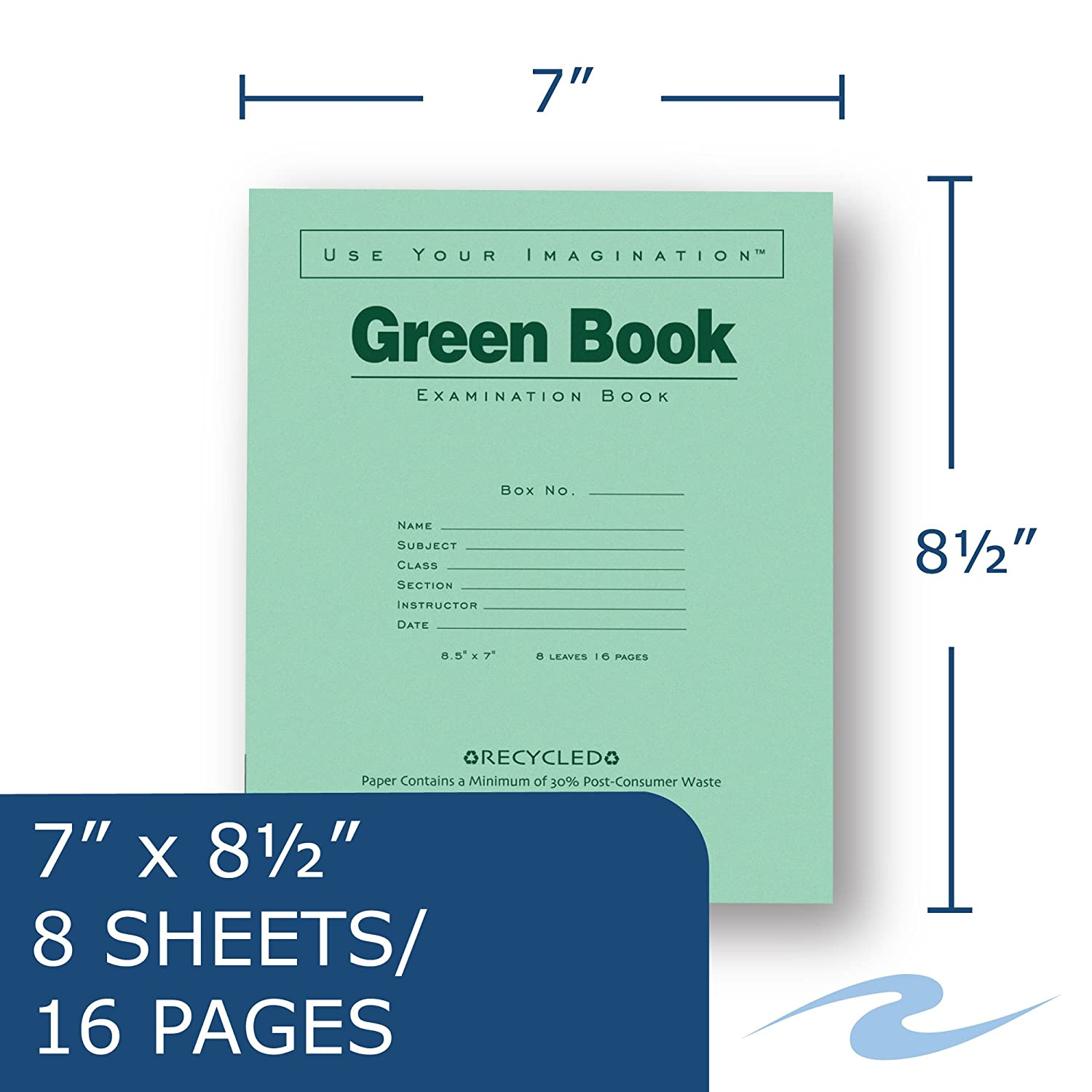 8.5 x 7 8 sheets//16 pages. Roaring Spring Recycled Exam Book