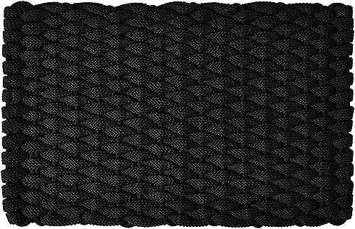 Rockport Rope Door Mats 2034374 Indoor Outdoor Doormats, 20 x 34 , Black with Black Insert
