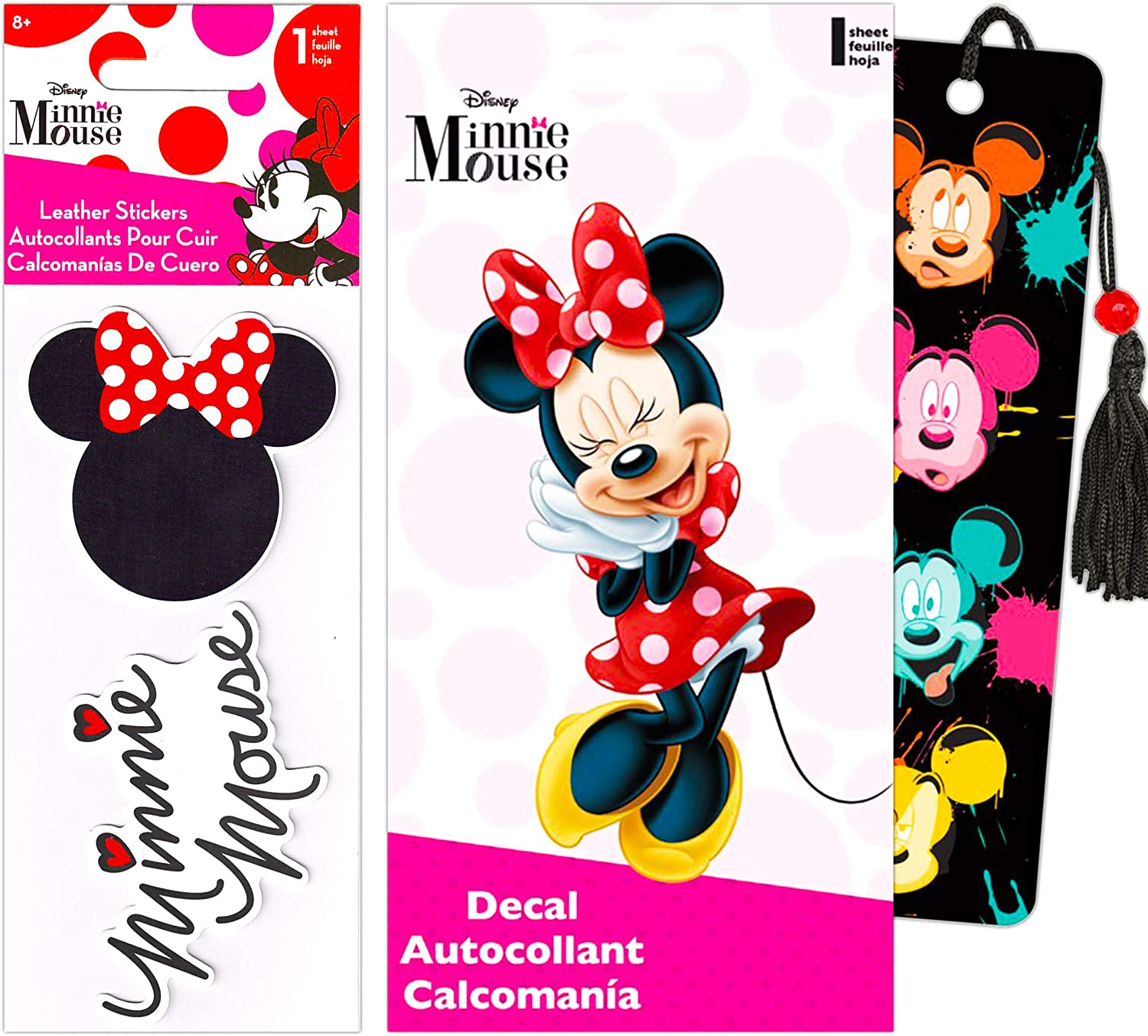 Disney Minnie Mouse Decal Sticker Bundle Pack - Minnie Mouse Sticker Decal Set for Walls Car Laptop with Minnie Mouse Bookmark (Disney Minnie Mouse Party Supplies Office Supplies School Supplies)