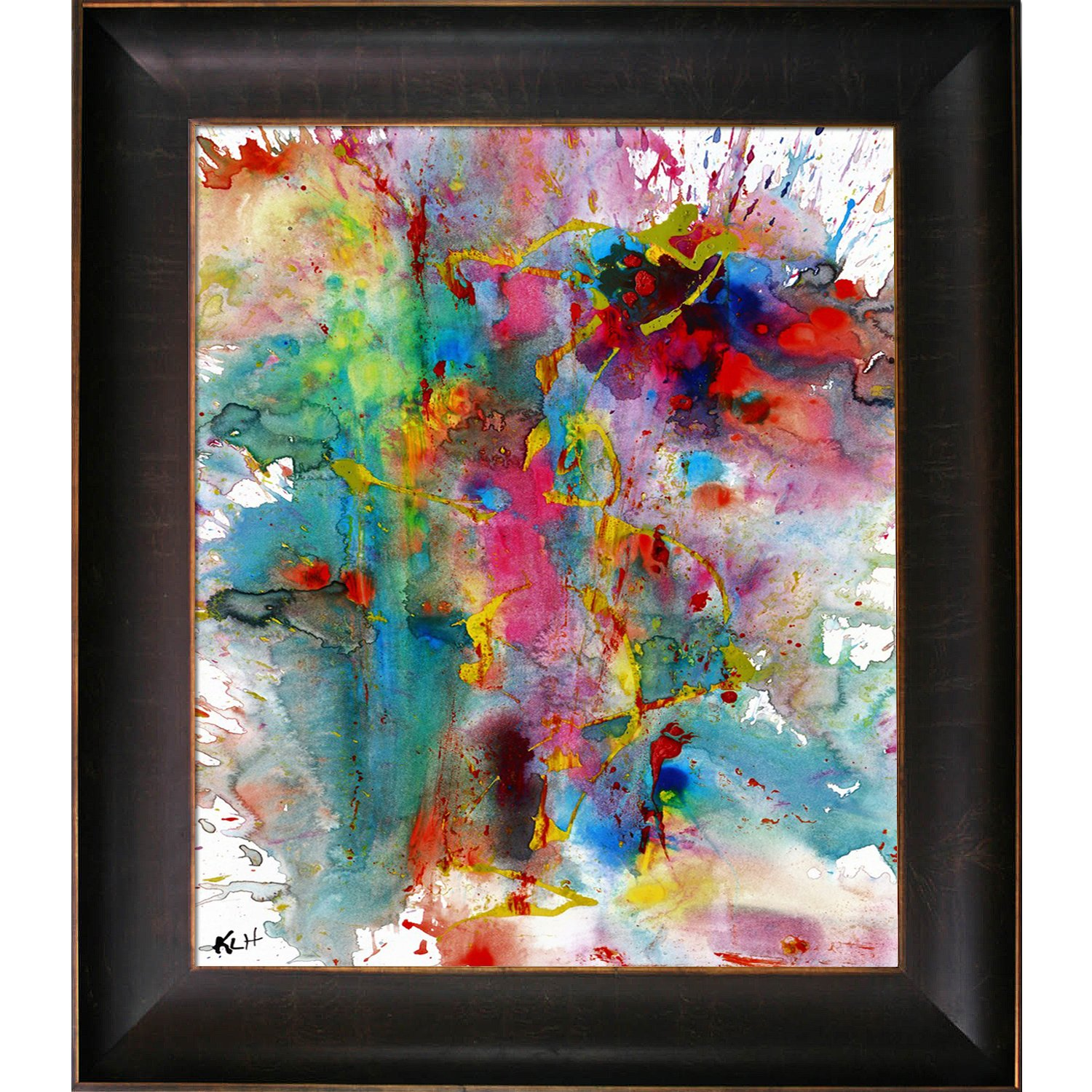 overstockArt Artist Abe Chaotic Craziness Series 1991033014 by Kris Haas Print On Canvas with Veine D Or Bronze Scoop Frame