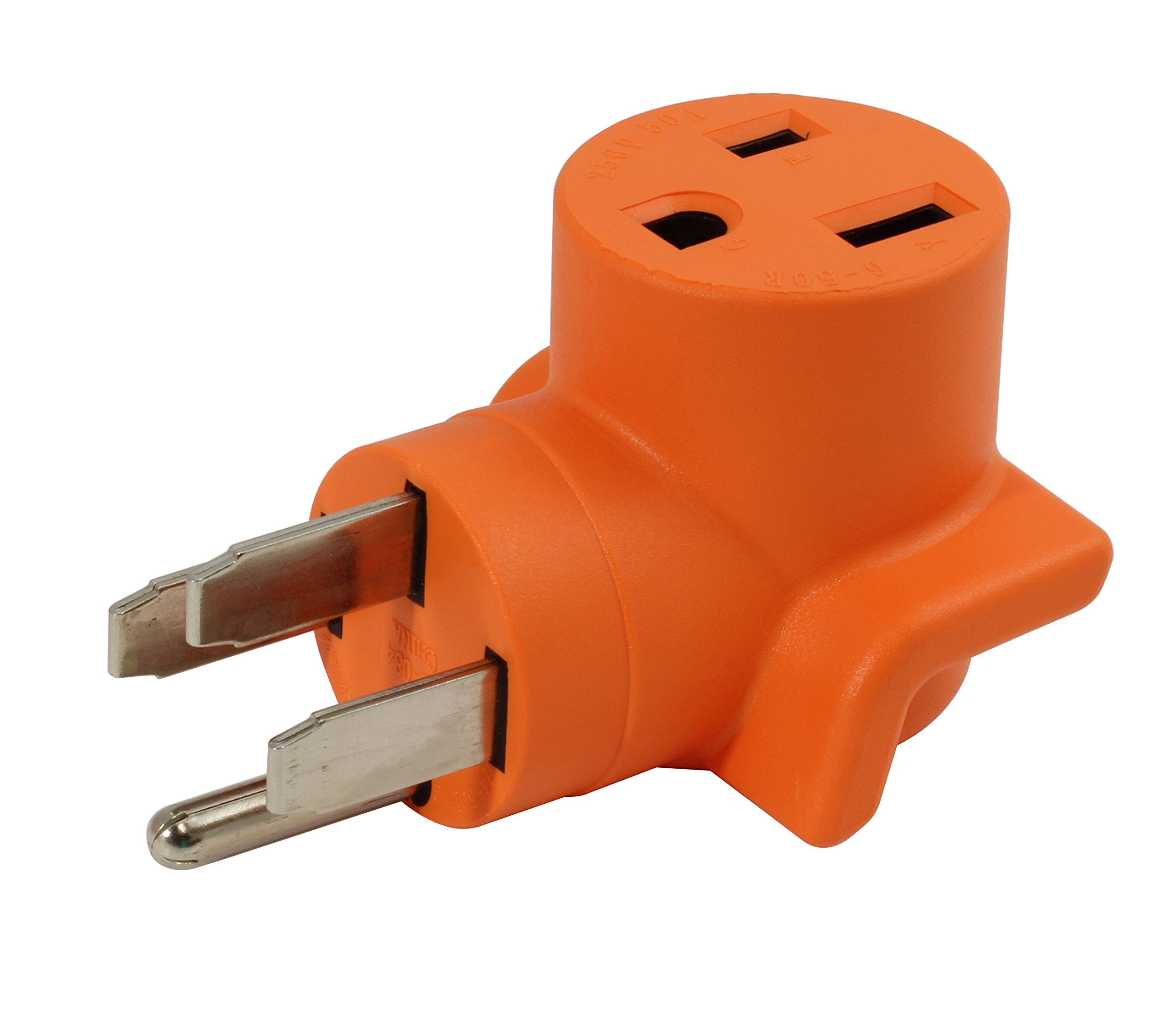 AC WORKS [WD1450650] 50Amp RV/ Range/ Generator 14-50 Plug to 6-50R 50Amp 250V Welder adapter