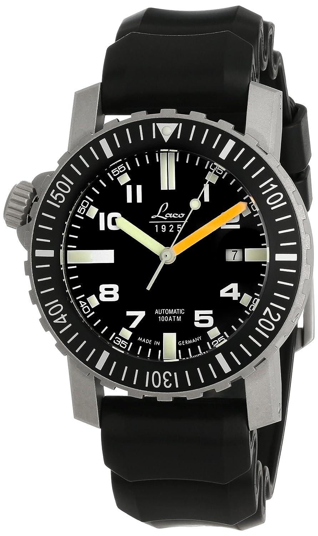 Laco 1925 861704 - Reloj de automático para hombre, con correa de goma, color negro: Amazon.es: Relojes