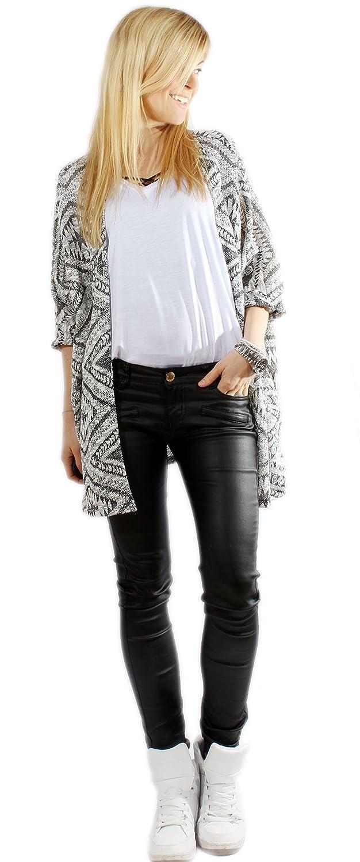 Damen Cardigan Azteken Muster schwarz weiß 0150012016 - one size (S/M)